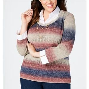 NWT PETITE Alfred Dunner sweater with necklace xl